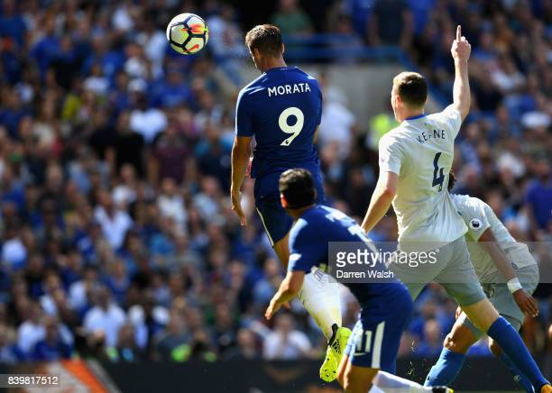 Alvaro Morata of Chelsea scores his sides second goal during the Premier League match between Chelsea and Everton at Stamford Bridge on August 27...