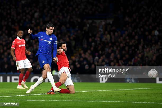 Alvaro Morata of Chelsea scores his team's first goal during the FA Cup Third Round match between Chelsea and Nottingham Forest at Stamford Bridge on...