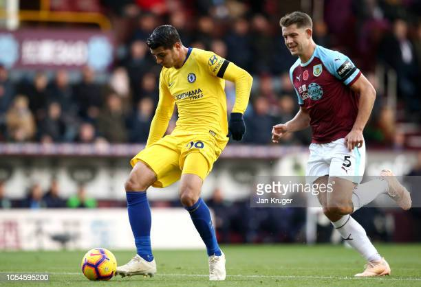 Alvaro Morata of Chelsea scores his team's first goal during the Premier League match between Burnley FC and Chelsea FC at Turf Moor on October 28...