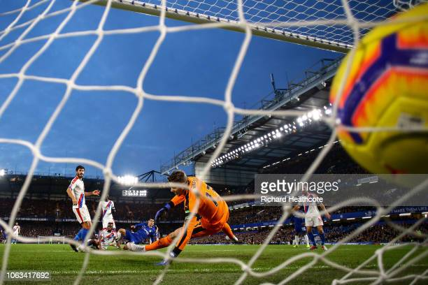 Alvaro Morata of Chelsea scores his team's first goal during the Premier League match between Chelsea FC and Crystal Palace at Stamford Bridge on...