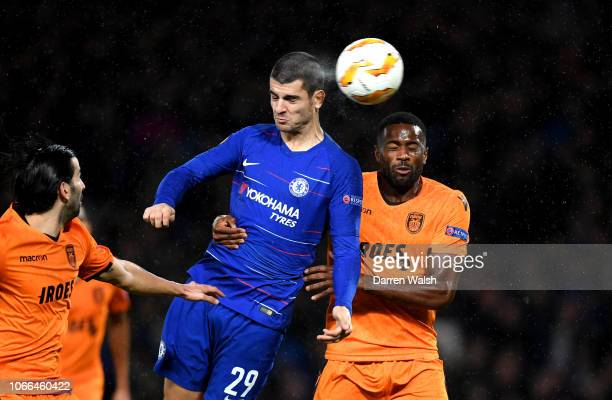 Alvaro Morata of Chelsea scores his team's fourth goal during the UEFA Europa League Group L match between Chelsea and PAOK at Stamford Bridge on...