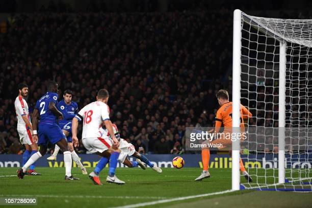 Alvaro Morata of Chelsea scores his team's second goal during the Premier League match between Chelsea FC and Crystal Palace at Stamford Bridge on...