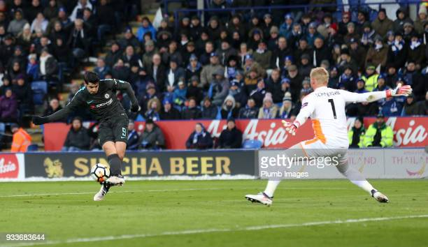 Alvaro Morata of Chelsea scores past Kasper Schmeichel of Leicester City to make it 01 during The Emirates FA Cup Quarter Final tie between Leicester...