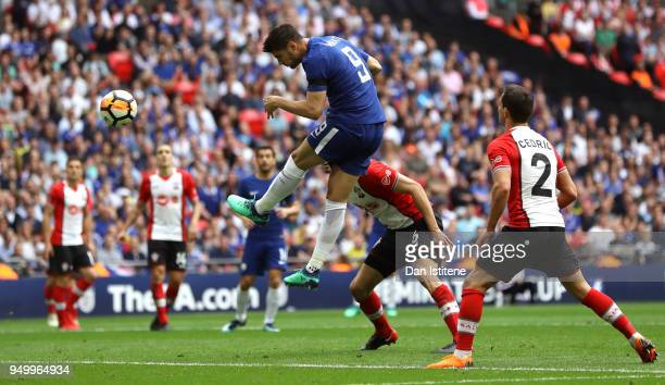 Alvaro Morata of Chelsea scores the 2nd Chelsea goal during The Emirates FA Cup Semi Final match between Chelsea and Southampton at Wembley Stadium...