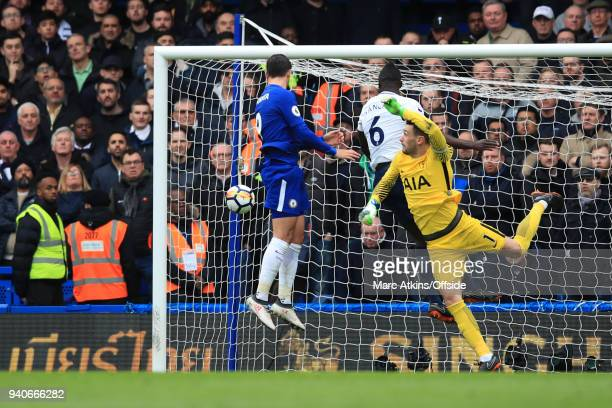 Alvaro Morata of Chelsea scores the opening goal during the Premier League match between Chelsea and Tottenham Hotspur at Stamford Bridge on April 1...