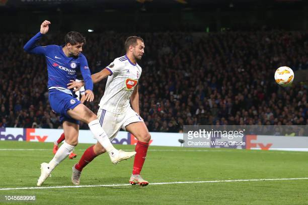Alvaro Morata of Chelsea scores the opening goal during the UEFA Europa League Group L match between Chelsea and Vidi FC at Stamford Bridge on...