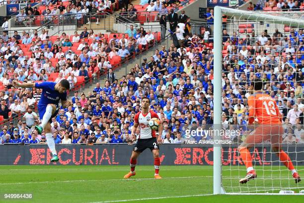 Alvaro Morata of Chelsea scores their 2nd goal during the Emirates FA Cup Semi Final between Chelsea and Southampton at Wembley Stadium on April 22...