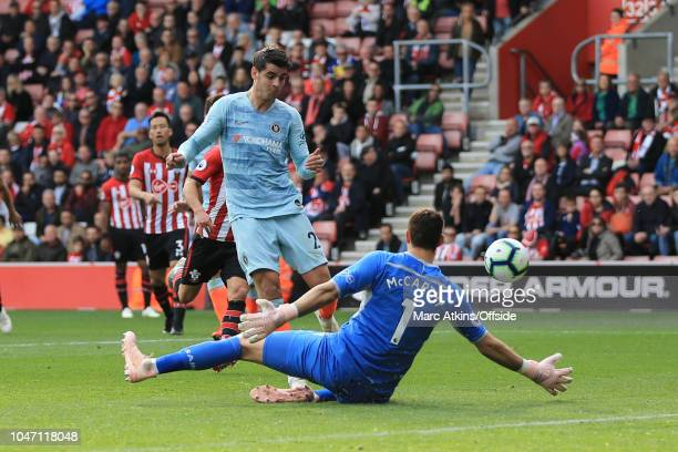 Alvaro Morata of Chelsea scores their 3rd goal during the Premier League match between Southampton FC and Chelsea FC at St Mary's Stadium on October...