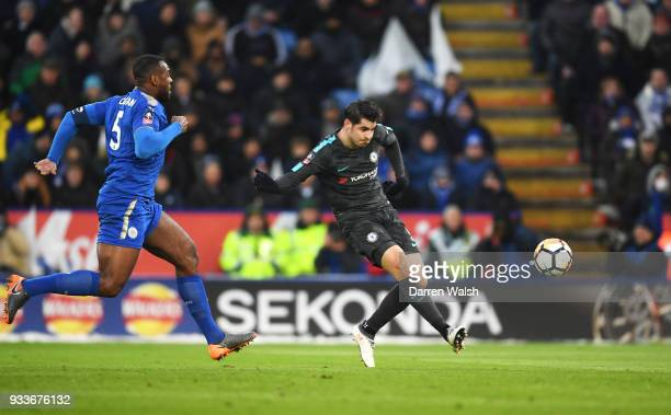 Alvaro Morata of Chelsea scores their first goal during The Emirates FA Cup Quarter Final match between Leicester City and Chelsea at The King Power...