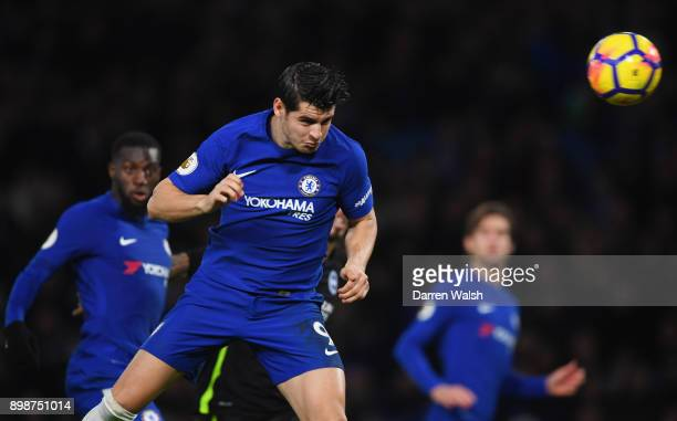 Alvaro Morata of Chelsea scores their first goal during the Premier League match between Chelsea and Brighton and Hove Albion at Stamford Bridge on...