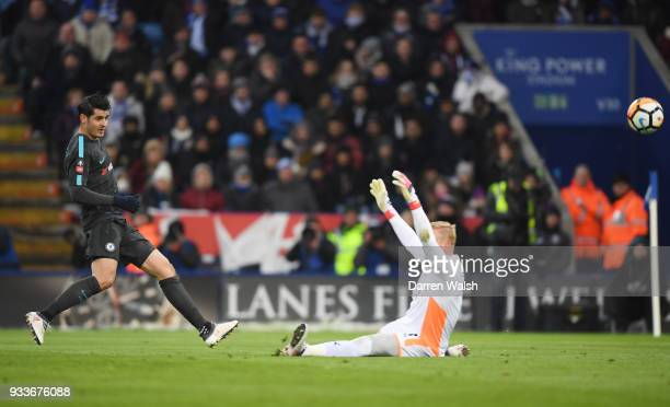 Alvaro Morata of Chelsea scores their first goal past Kasper Schmeichel of Leicester City during The Emirates FA Cup Quarter Final match between...