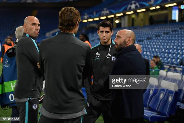 Alvaro Morata of Chelsea speaks to Willy Caballero of Chelsea prior to the UEFA Champions League group C match between Chelsea FC and AS Roma at...