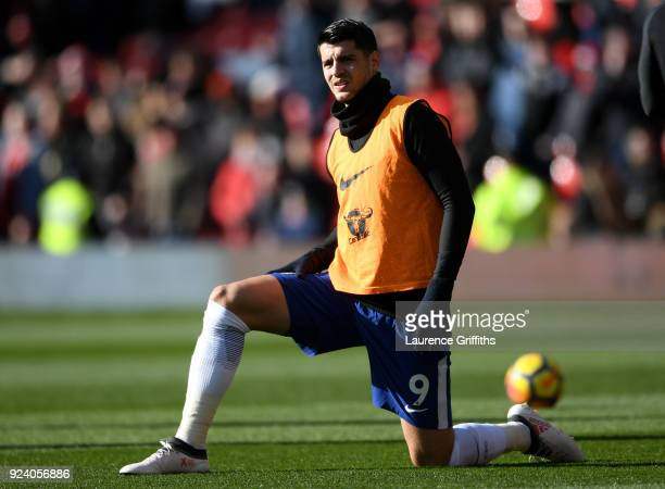 Alvaro Morata of Chelsea warms up ahead of the Premier League match between Manchester United and Chelsea at Old Trafford on February 25 2018 in...