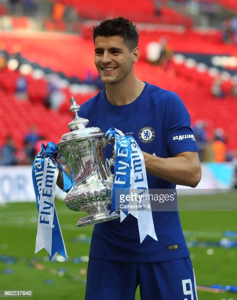 Alvaro Morata of Chelsea with the trophy after The Emirates FA Cup Final between Chelsea and Manchester United at Wembley Stadium on May 19 2018 in...