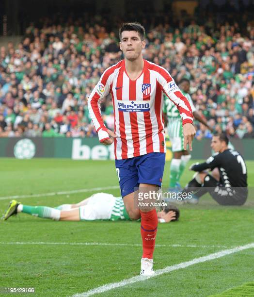 Alvaro Morata of Club Atletico de Madrid celebrates after scoring his sides second goal during the Liga match between Real Betis Balompie and Club...