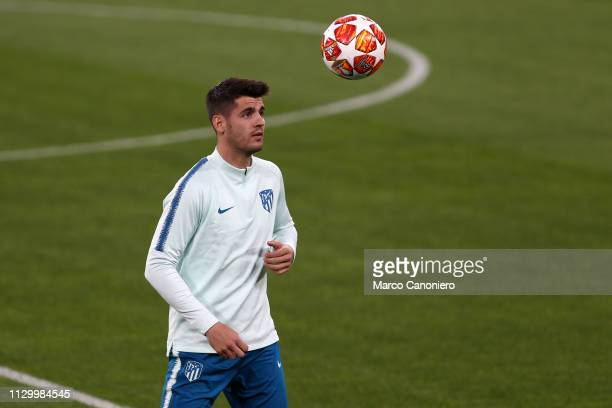 Alvaro Morata of Club Atletico de Madrid during training session on the eve of the UEFA Champions League football match between Juventus Fc and Club...