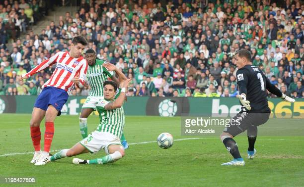 Alvaro Morata of Club Atletico de Madrid scores his sides second goal during the Liga match between Real Betis Balompie and Club Atletico de Madrid...