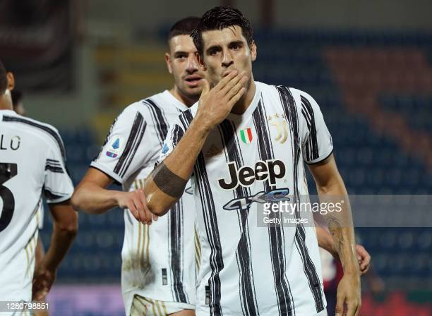 Alvaro Morata of Juventus celebrates after scoring his team's second goal before the var check during the Serie A match between FC Crotone and...