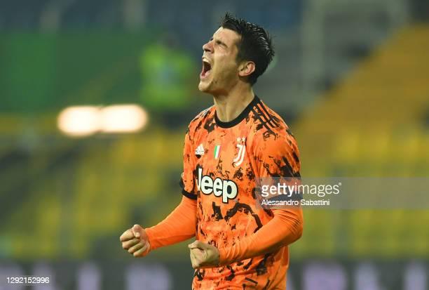 Alvaro Morata of Juventus F.C. Celebrates after scoring their team's fourth goal during the Serie A match between Parma Calcio and Juventus at Stadio...