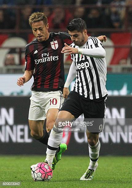 Alvaro Morata of Juventus FC competes for the ball with Keisuke Honda of AC Milan during the Serie A match between AC Milan and Juventus FC at Stadio...