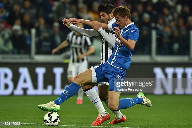 Alvaro Morata of Juventus FC competes with Daniele Rugani of Empoli FC during the Serie A match between Juventus FC and Empoli FC at Juventus Arena...