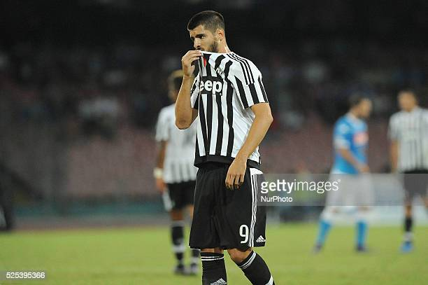Alvaro Morata of Juventus FC during the italian Serie A football match between SSC Napoli and Juventus FC at San Paolo Stadium on September 26 2015...