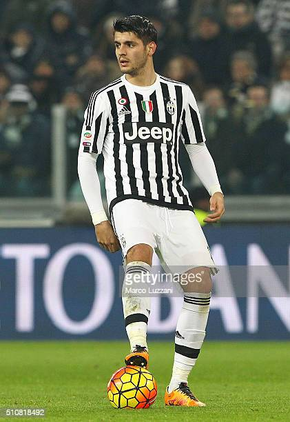 Alvaro Morata of Juventus FC in action during the Serie A match between and Juventus FC and SSC Napoli at Juventus Arena on February 13 2016 in Turin...