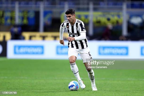 Alvaro Morata of Juventus Fc in action during the Serie A match between Fc Internazionale and Juventus Fc. The match ends in a tie 1-1.