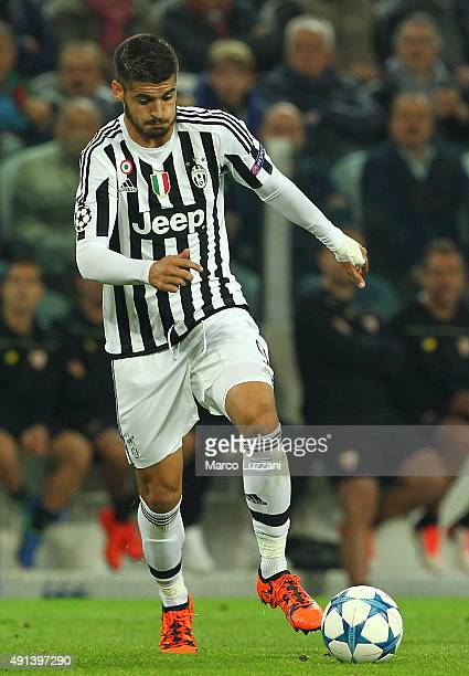 Alvaro Morata of Juventus FC in action during the UEFA Champions League group E match between Juventus and Sevilla FC at Juventus Arena on September...