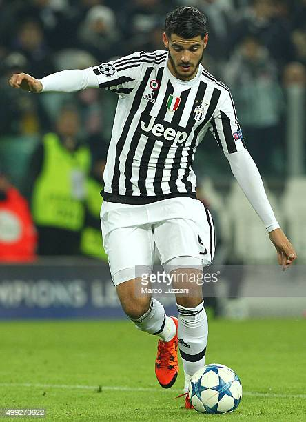 Alvaro Morata of Juventus FC in action during the UEFA Champions League group stage match between Juventus and Manchester City FC at Juventus Arena...