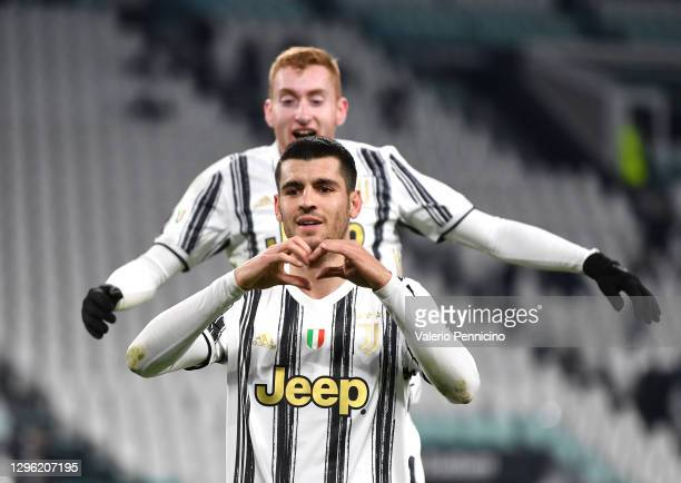 Alvaro Morata of Juventus F.C. Is congratulated by teammate Dejan Kulusevski as he celebrates after scoring their team's second goal during the Coppa...