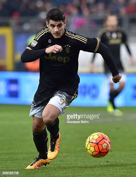 Alvaro Morata of Juventus in action during the Serie A match between Frosinone Calcio and Juventus FC at Stadio Matusa on February 7 2016 in...