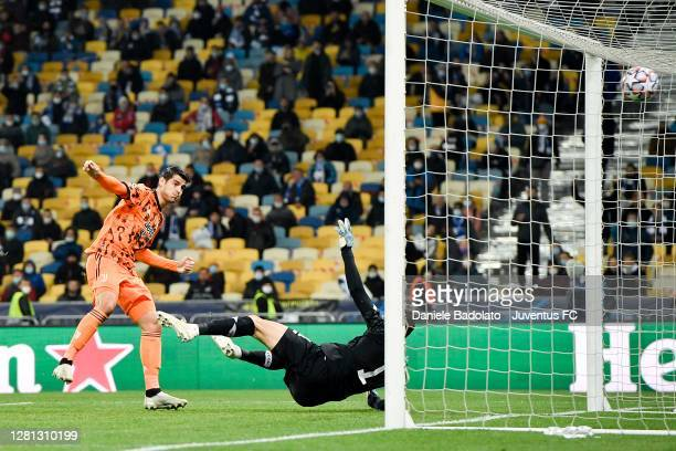 Alvaro Morata of Juventus scores his team's first goal during the UEFA Champions League Group G stage match between Dynamo Kyiv and Juventus at NSC...