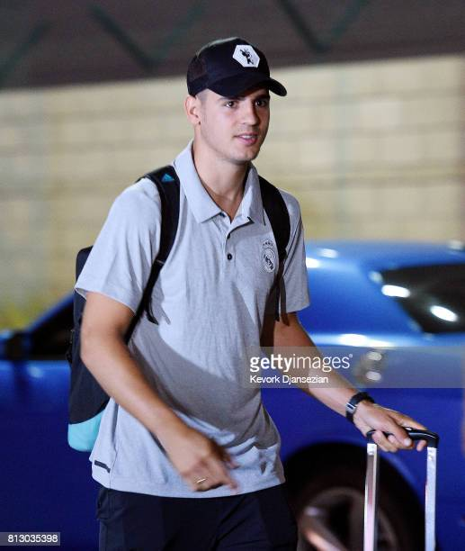 Alvaro Morata of Real Madrid arrives at Los Angeles International Airport for Tour 2017 soccer tournament July 11 in Los Angeles California