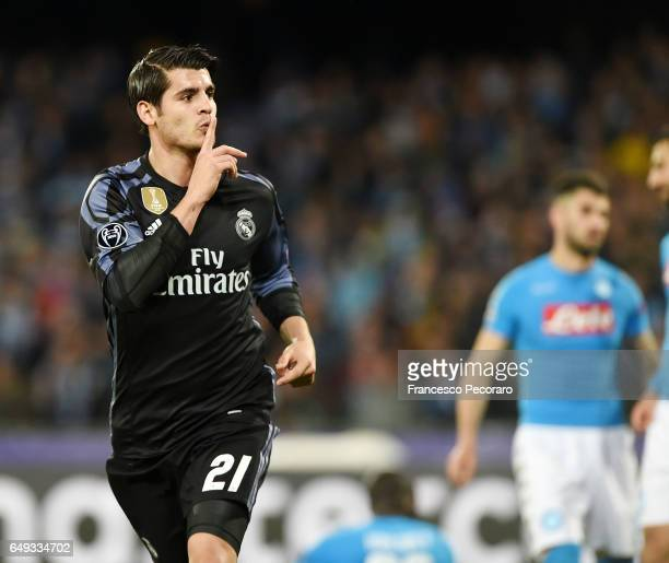 Alvaro Morata of Real Madrid celebrates after scoring goal 13 during the UEFA Champions League Round of 16 second leg match between SSC Napoli and...
