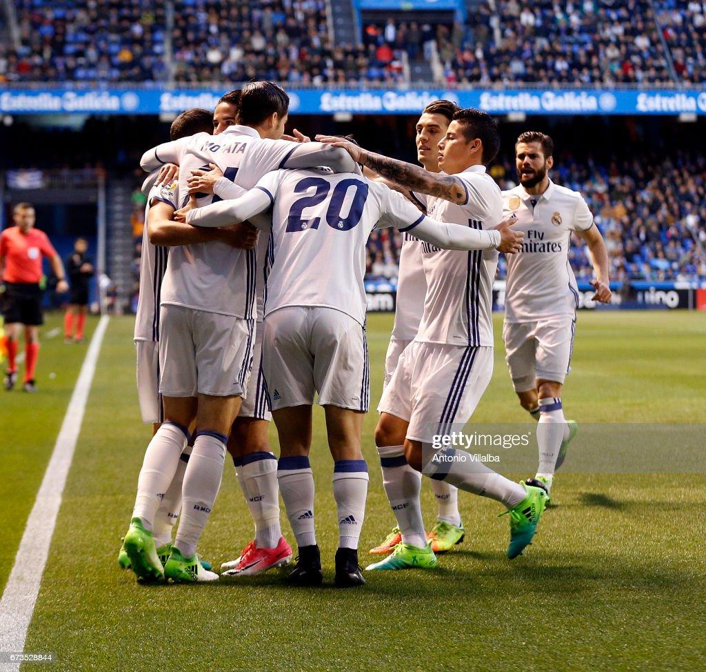 Alvaro Morata of Real Madrid celebrates after scoring goal whit his teammates during the La Liga match between RC Deportivo La Coruna and Real Madrid at Riazor Stadium onn April 26, 2017 in La Coruna, Spain.