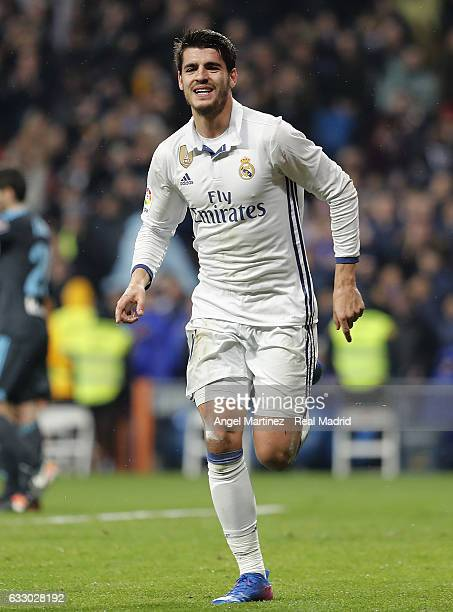 Alvaro Morata of Real Madrid celebrates after scoring his team's third goal during the La Liga match between Real Madrid and Real Sociedad at Estadio...