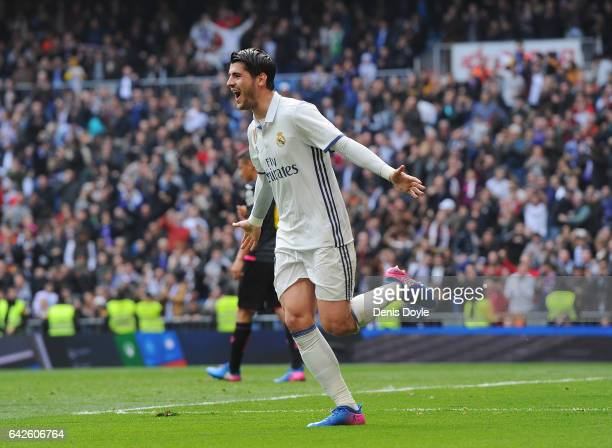 Alvaro Morata of Real Madrid celebrates after scoring Real's opening goal during the La Liga match between Real Madrid CF and RCD Espanyol at the...