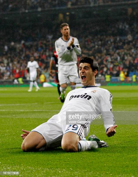 Alvaro Morata of Real Madrid celebrates after scoring the opening goal during the La Liga match between Real Madrid and Rayo Vallecano at Estadio...
