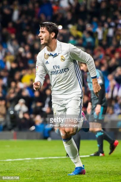 Alvaro Morata of Real Madrid celebrates during their La Liga match between Real Madrid and Real Sociedad at the Santiago Bernabeu Stadium on 29...