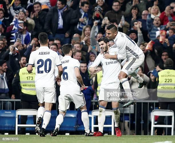 Alvaro Morata of Real Madrid celebrates his goal with his team mates during the La Liga match between Real Madrid CF and RC Deportivo La Coruna at...