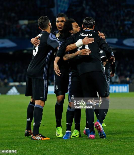 Alvaro Morata of Real Madrid celebrates whit his teammates the third goal of his team during the UEFA Champions League Round of 16 second leg match...