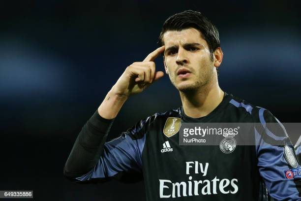 Alvaro Morata of Real Madrid celebration after the goal of 13 during the UEFA Champions League Round of 16 second leg match between SSC Napoli and...