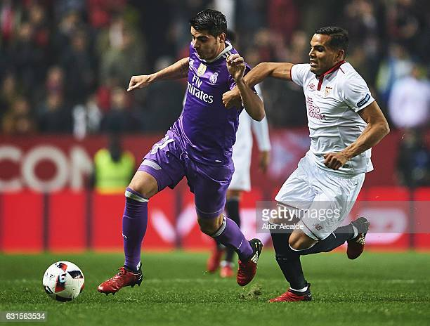 Alvaro Morata of Real Madrid CF being followed by Gabriel Mercado of Sevilla FC during the Copa del Rey Round of 16 Second Leg match between Sevilla...