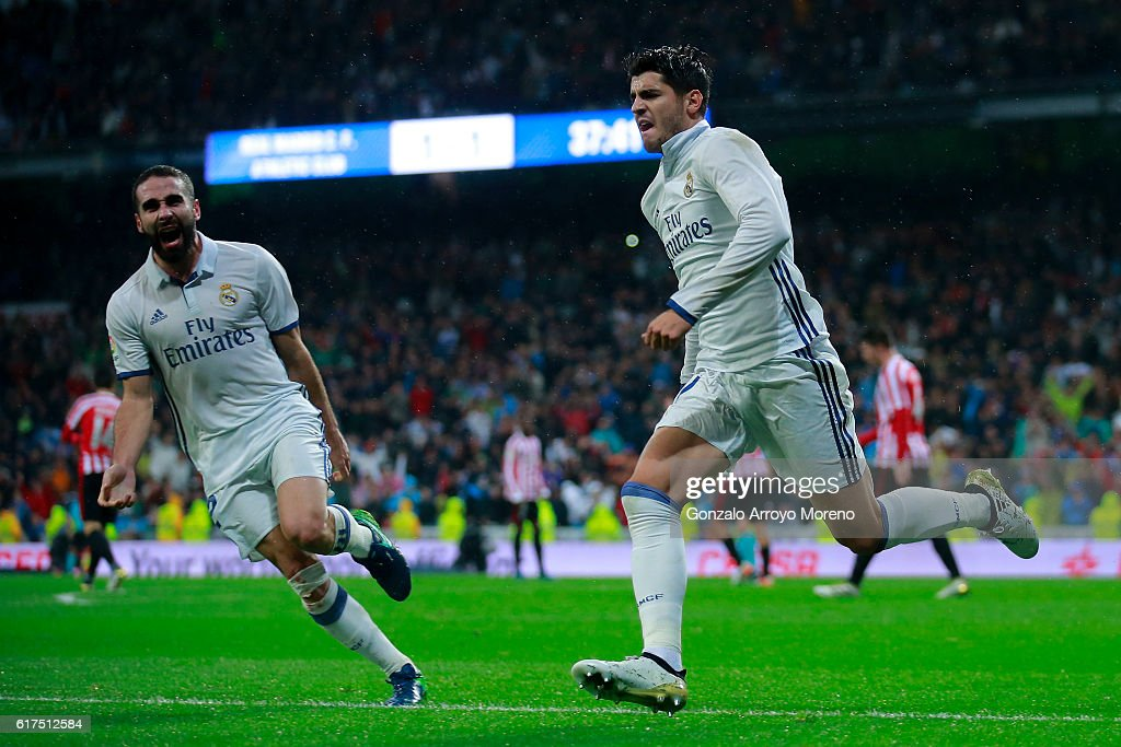 Alvaro Morata of Real Madrid CF celebrates scoring their second goal during the La Liga match between Real Madrid CF and Athletic Club de Bilbao at Estadio Santiago Bernabeu on October 23, 2016 in Madrid, Spain.