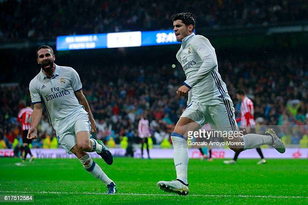 Alvaro Morata of Real Madrid CF celebrates scoring their second goal during the La Liga match between Real Madrid CF and Athletic Club de Bilbao at...