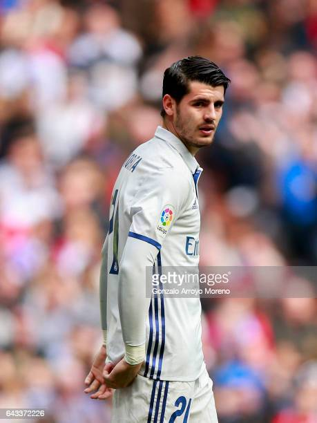 Alvaro Morata of Real Madrid CF gestures during the La Liga match between Real Madrid CF and RCD Espanyol at Estadio Santiago Bernabeu on February 18...