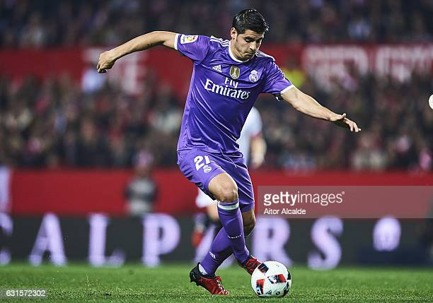 Alvaro Morata of Real Madrid CF in action during the Copa del Rey Round of 16 Second Leg match between Sevilla FC vs Real Madrid CF at Ramon Sanchez...