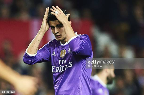 Alvaro Morata of Real Madrid CF reacts after missing a chance og al during the Copa del Rey Round of 16 Second Leg match between Sevilla FC vs Real...
