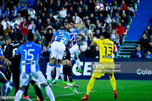 Alvaro Morata of Real Madrid CF scores their fourth goal during the La Liga match between CD Leganes and Real Madrid CF at Estadio Municipal de...